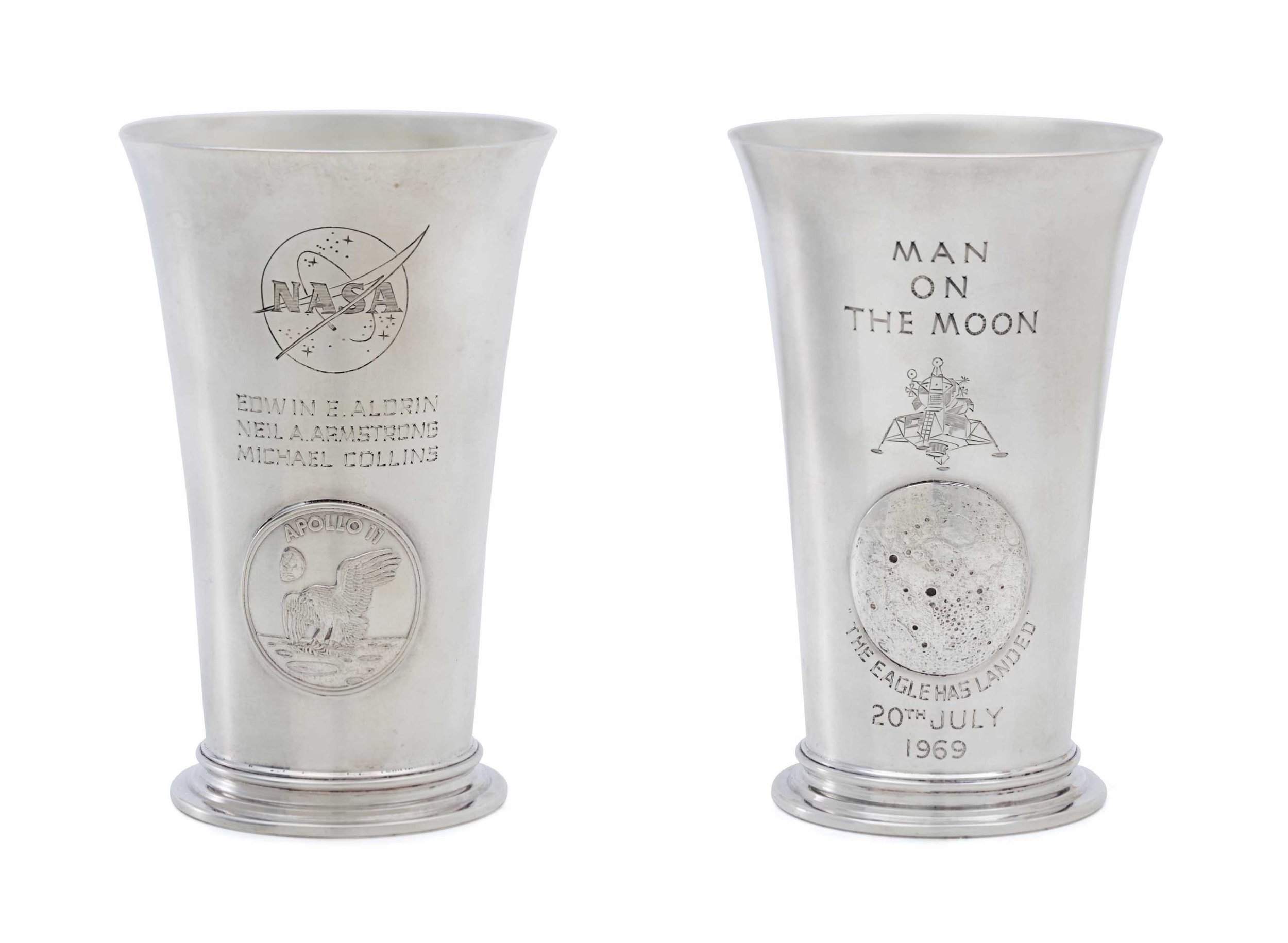 Engraved in 1969, NASA Silver Beakers to commemorate The Moon Landings. Each was sent to the crew and Richard Nixon. With a Thank you Letter from Neil Armstrong himself.
