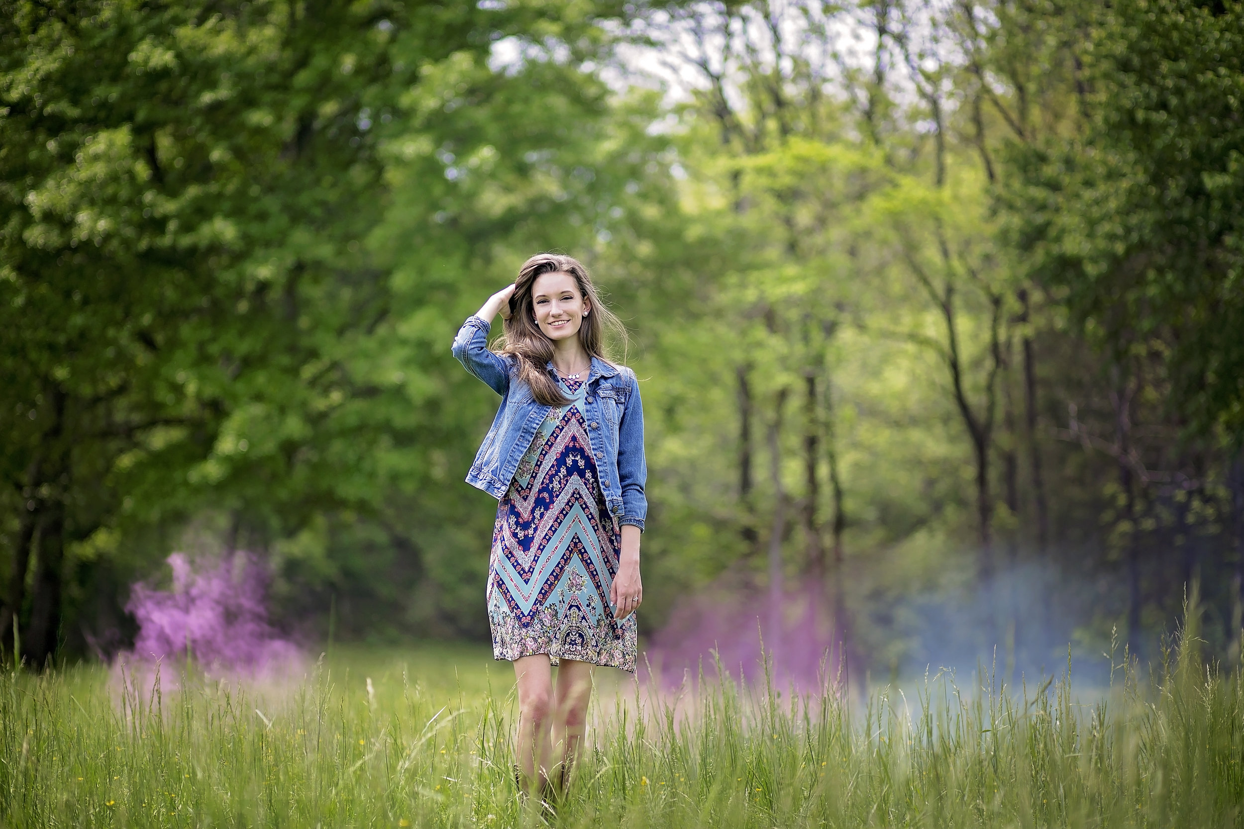 pickens sc senior portrait photographer smoke bomb