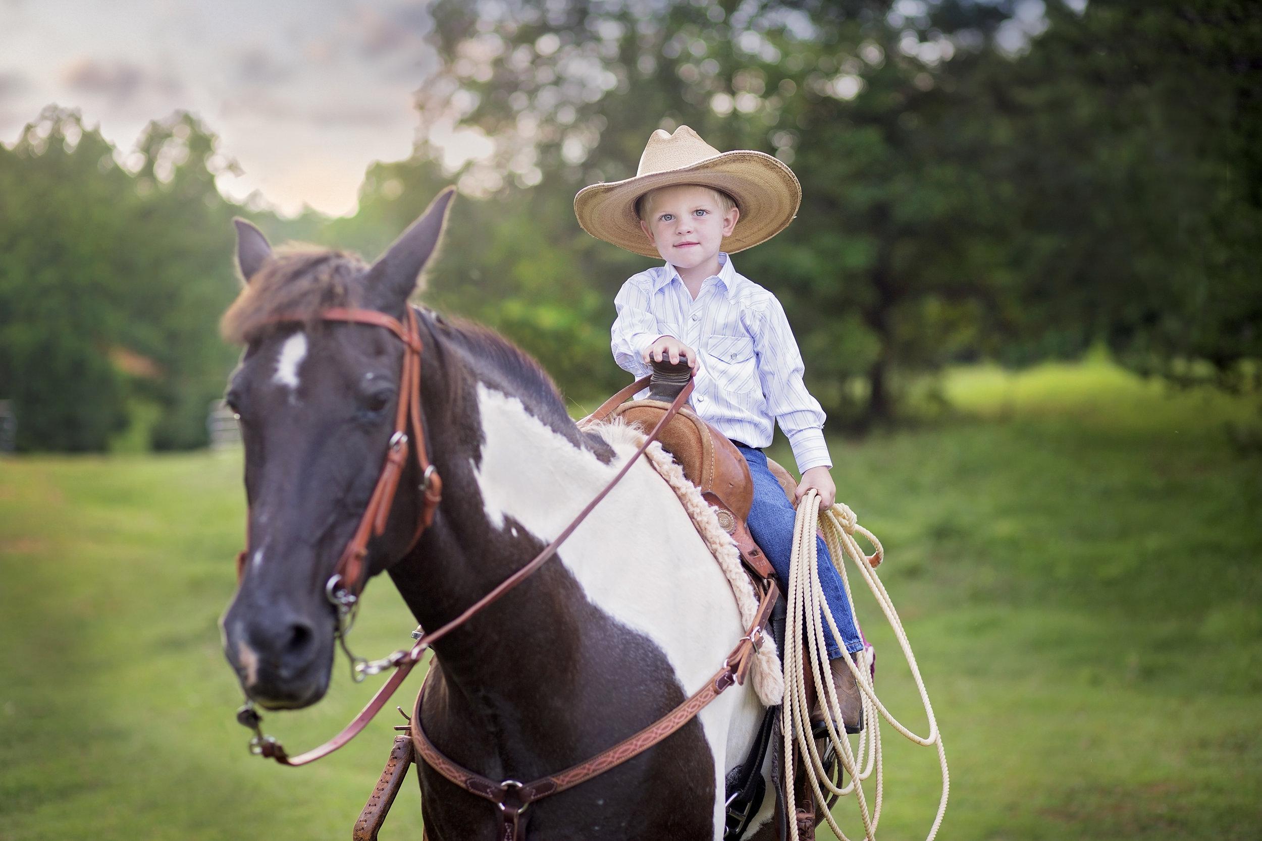 children portraits photographer pickens sc horse cowboy little boy