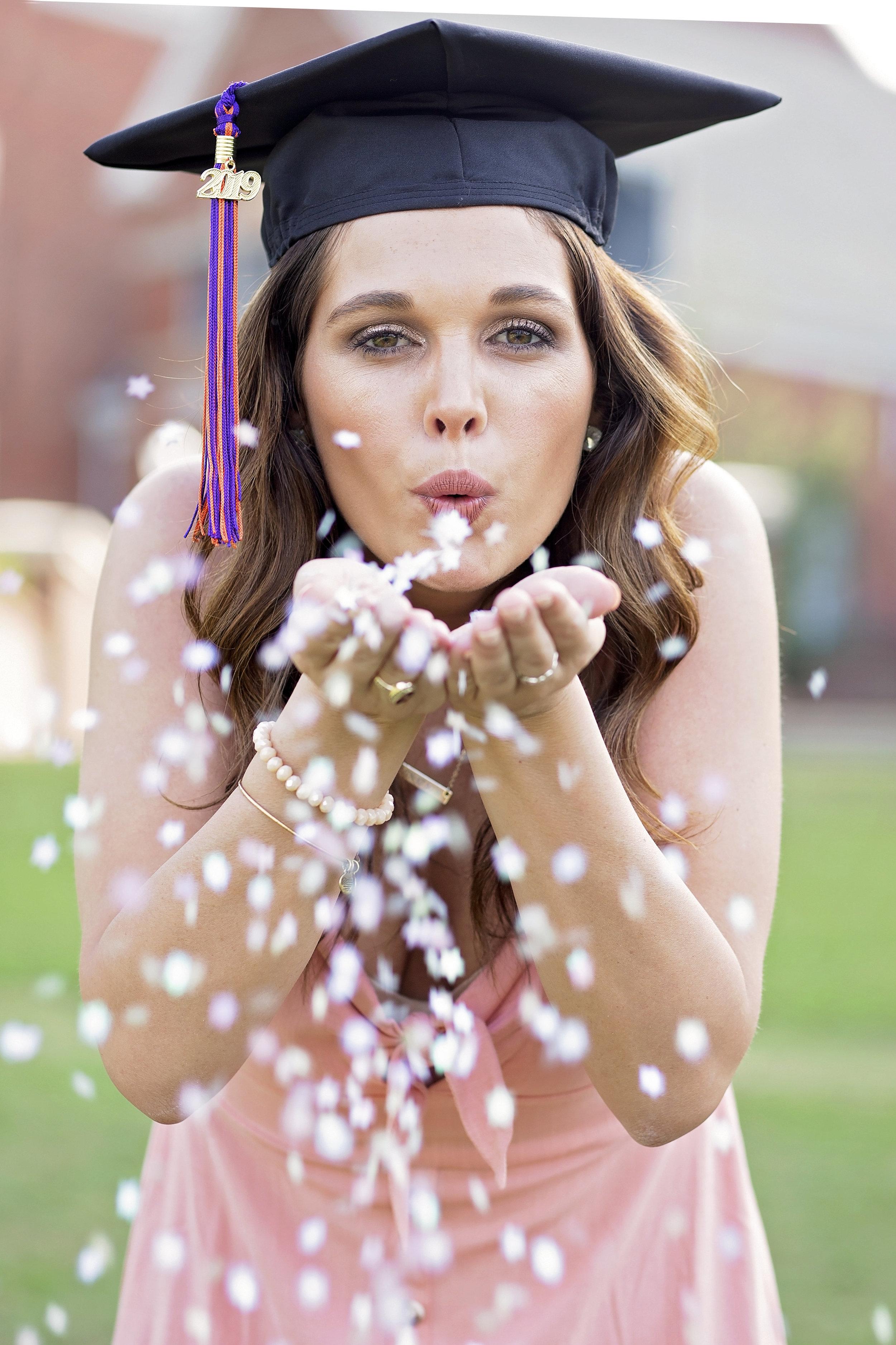 clemson university senior pictures portraits confetti