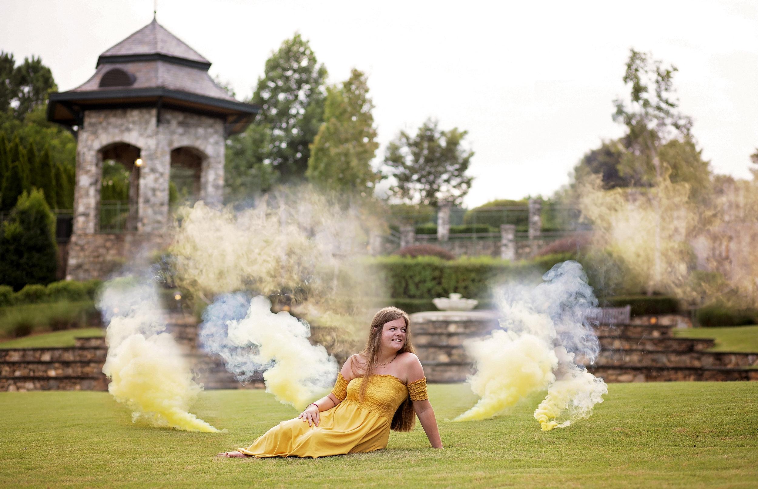 the reserve at lake keowee photographer smoke bomb senior portraits pickens sc