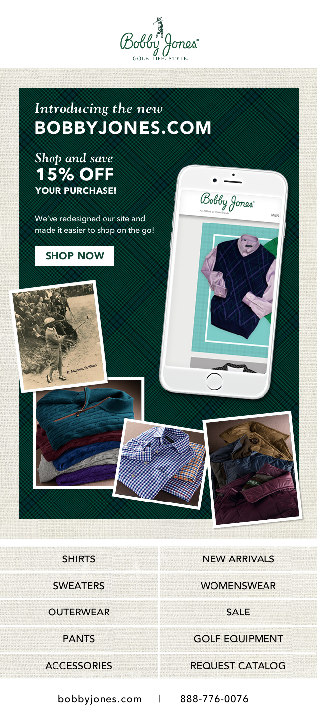 Bobby Jones: Website Re-Launch and Offer