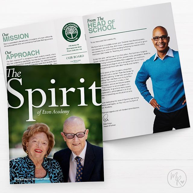 I love to work with my friends at Eton Academy @etonacademy1 on their quarterly magazine, The Spirit. It's a celebration of the students, teachers and staff that make Eton an amazing place to learn. Their spring issue was a special publication in tribute to their founders. 🌳  Eton Academy has been the trusted resource for families whose children learn differently in the Detroit, Michigan area. Students may have diagnoses of dyslexia, ADHD, processing or attention challenges, and some may best learn in a smaller environment tailored to each students needs. Learn more @etonacademy1 or etonacademy.org. 🌳  #etonacademy #love #instagood #diversity  #design #art #marketing #print  #instadesign #instamarketing
