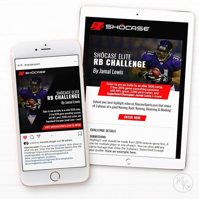 A successful campaign across social platforms begins with a brand design that feels cohesive and leaves a lasting impression on its audience. 🏈  I worked with NFL-great, 2000 yard rusher Jamal Lewis  @jamal31lewis and @shocasesport on a campaign to promote their Running Back Challenge. Shocase Sports is a platform designed to help high school athletes gain exposure by creating and driving their own content.  Learn more @shocasesport or visit shocasesports.com  #football  #marketing #nfl  #sports #baltimoreravens #shocase #email #emailmarketing #design #graphicdesign #socialmediastrategy #mobile #digitalmarketing #ecommerce #work #job #design #designer