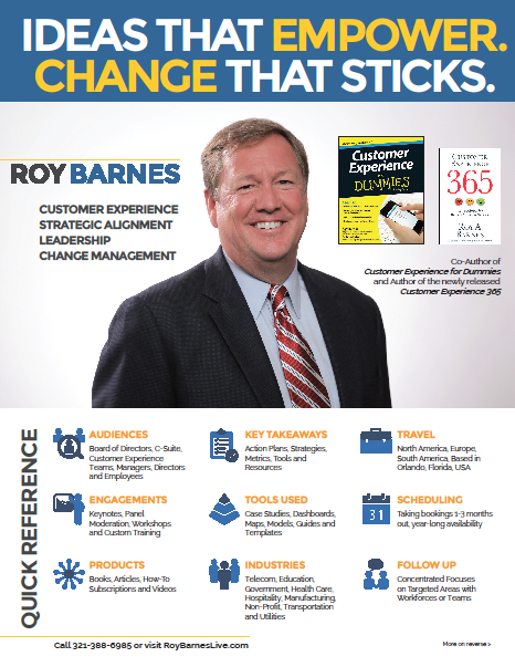 Interesting in learning more about having Roy speak at your next event?  Download his Speaking Fact Sheet  for more details on his keynotes and training.