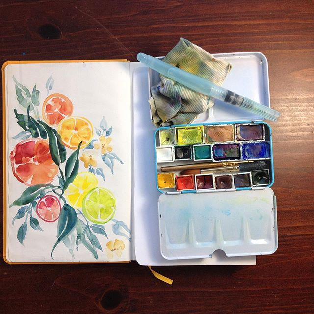 Make Art Everyday Challenge- citrus doodle for fun using my gouache pan set #makearteveryday #gouachepaint #urbansketching #painterly #painterlypeople