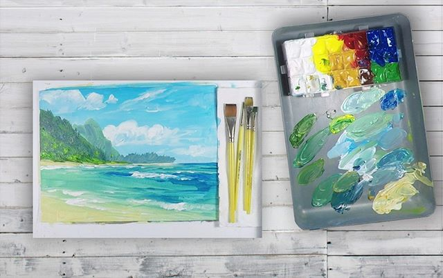 """Kauai"" in Acrylic painting tutorial just released on https://www.painterly.tv/  We can't wait to see all of your new paintings at ""Painterly Community""!"