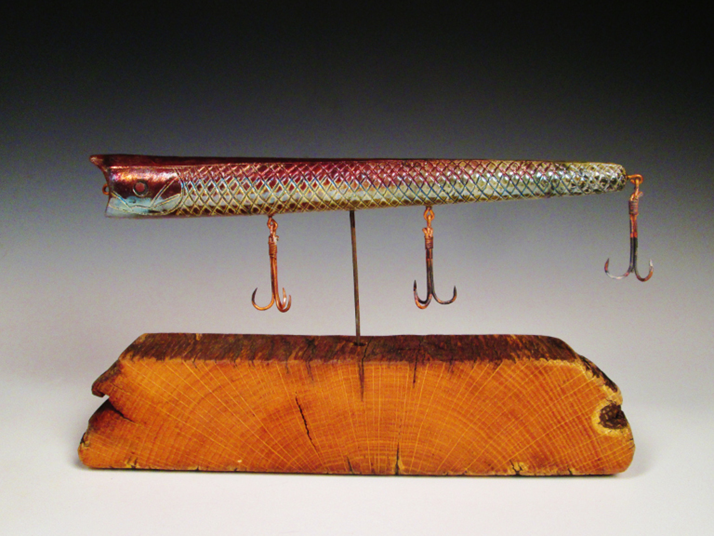 Mounted Lure  10x5x3  Ceramic and Reclaimed Material $250.JPG