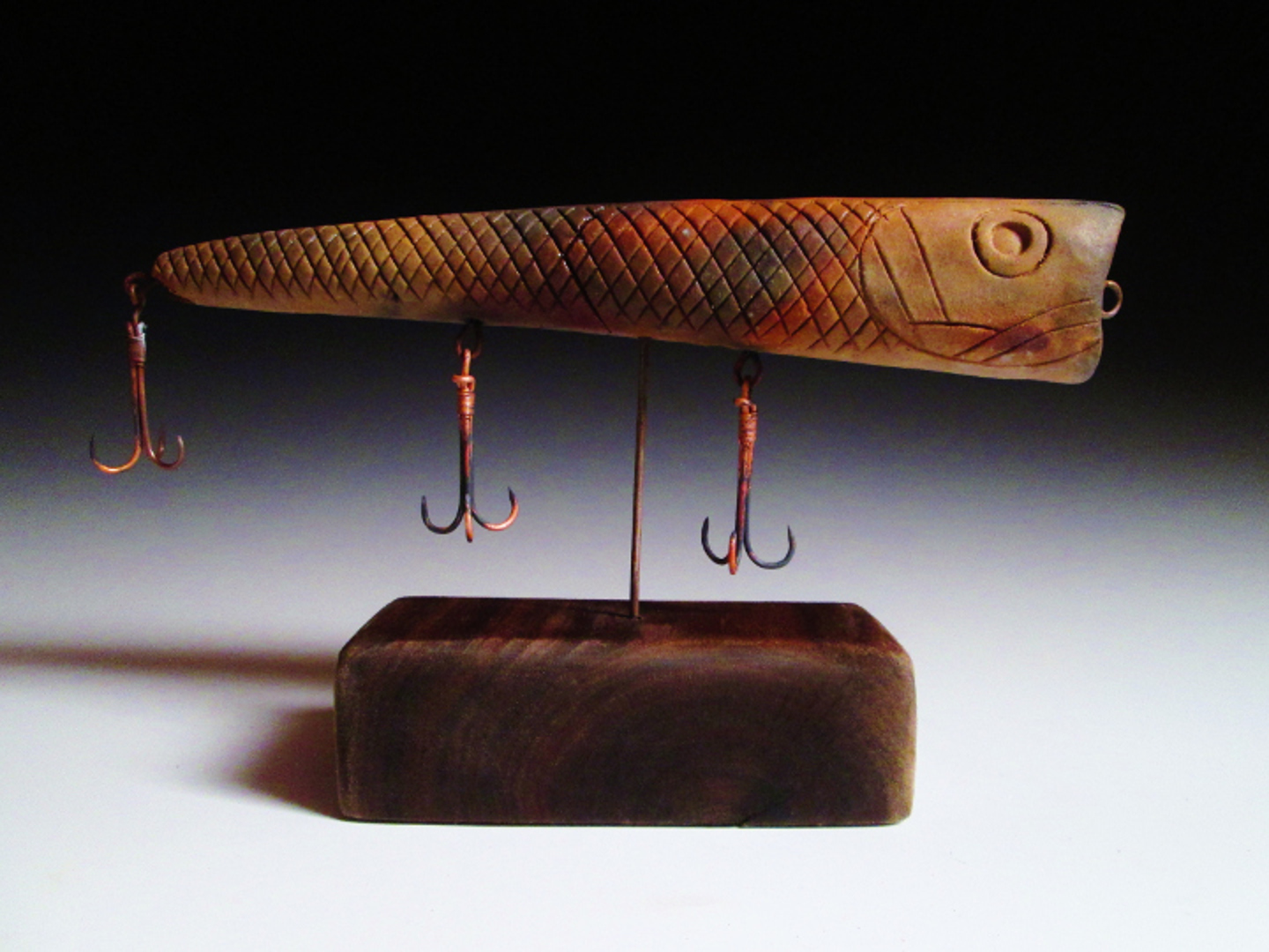 Mounted Lure, Natural Clay  9x5x2.5  Ceramic and Reclaimed Material $250.JPG