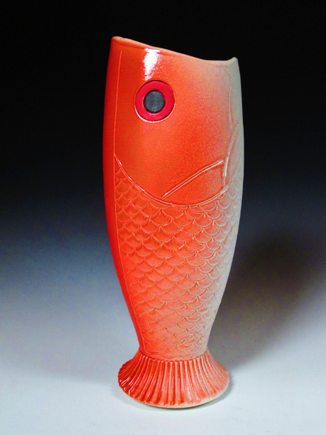 Red Fish Vase 12x4.5x4.5  Thrown and Altered Stoneware  $150.JPG