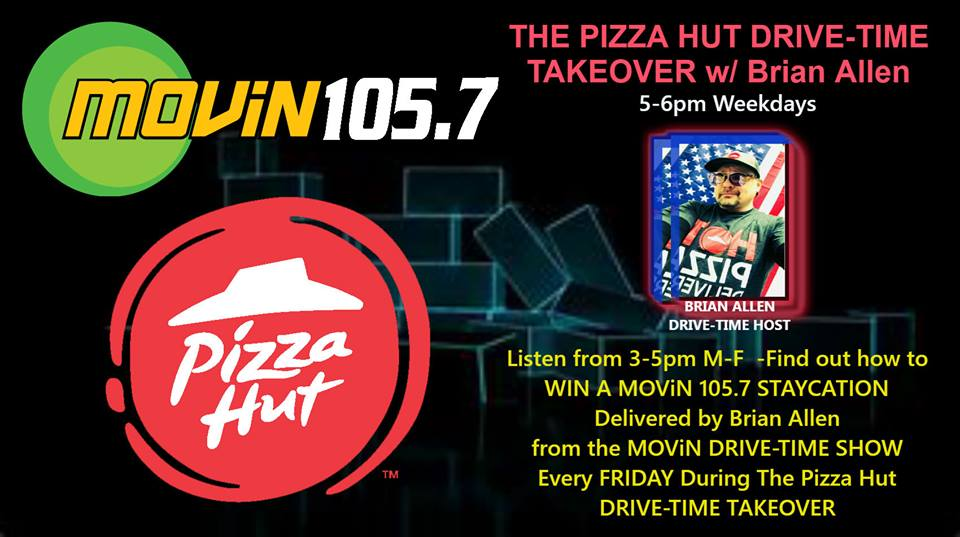 SIGN UP ALL WEEK ON THE FACEBOOK POST AND ON FRIDAY I CONTACT A RANDOM WINNER AND DELIVER A STAY-CATION  VACATION from PIZZA HUT.. Just comment on the post to enter the contest on our Facebook page.