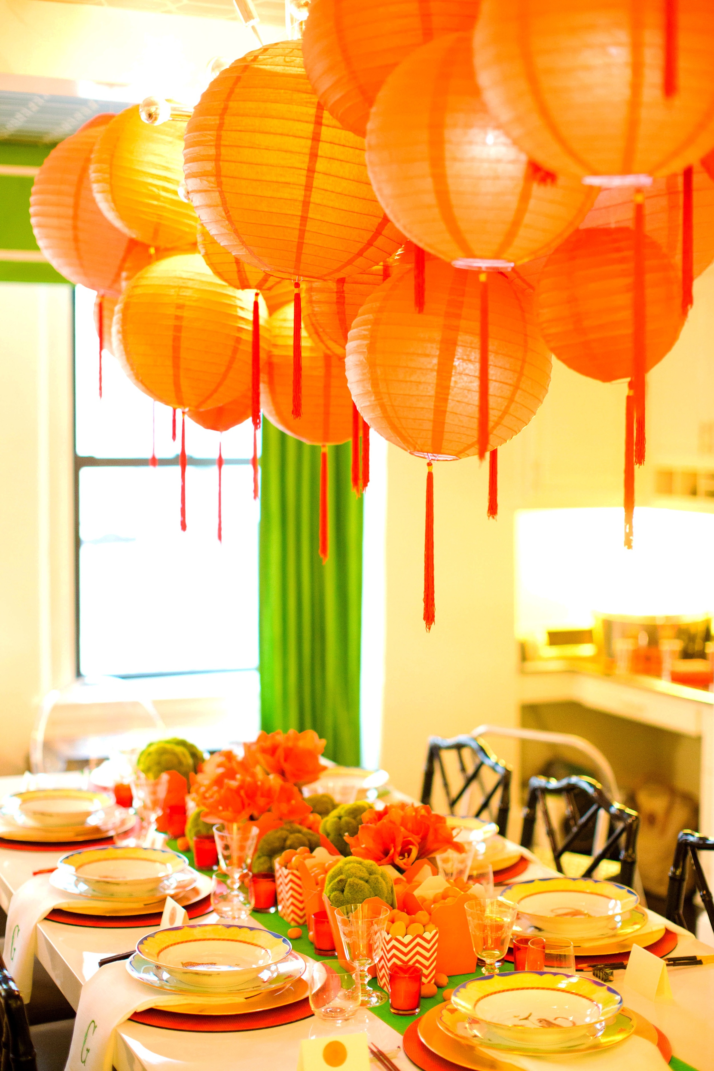My tabletop decor was built off of my Lynn Chase Tiger Raj china pattern - all shades of green and orange.