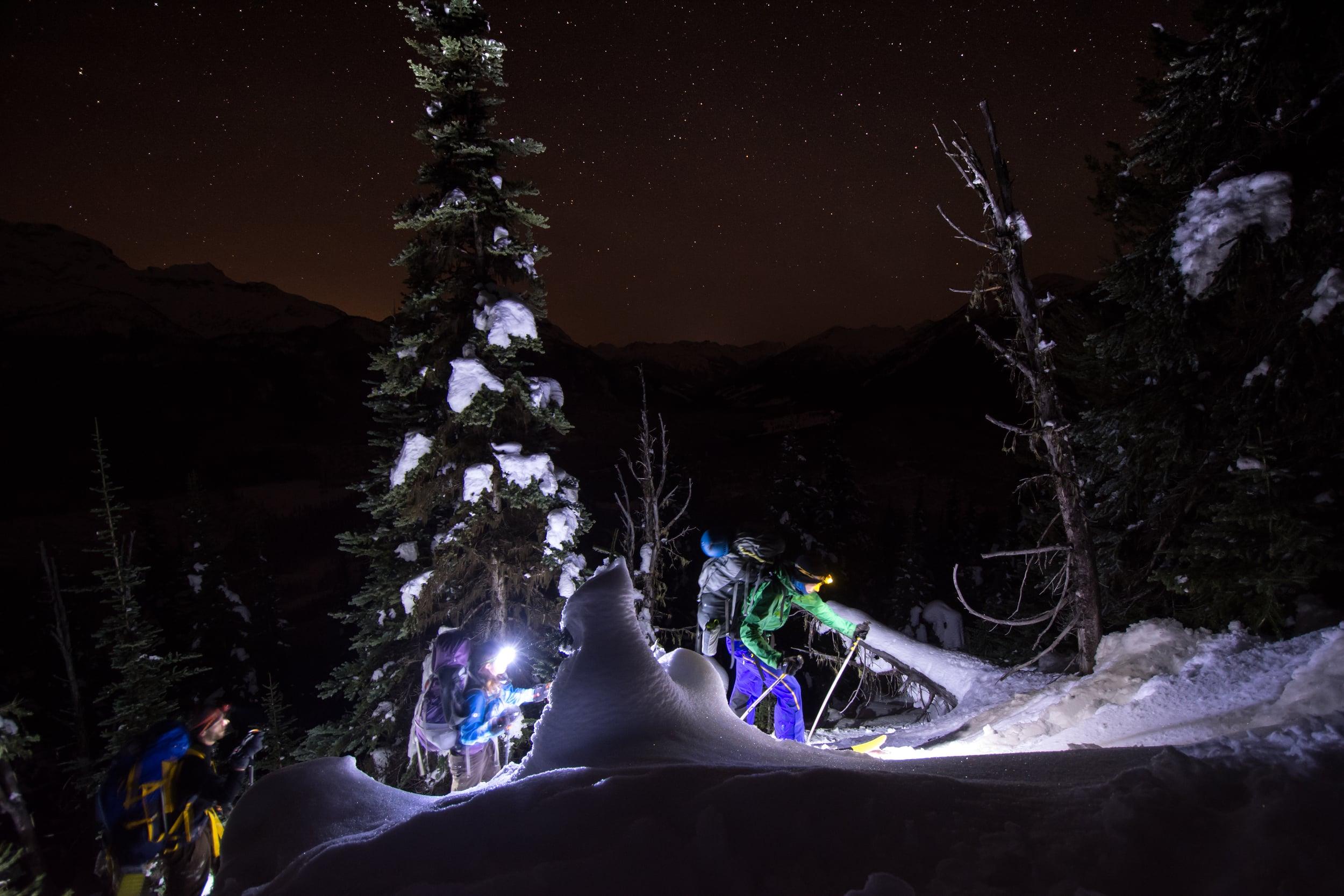 Laurent, Janelle, and Steve make their way up the dark skin track, Rohr Ridge, British Columbia, Dec 2015.