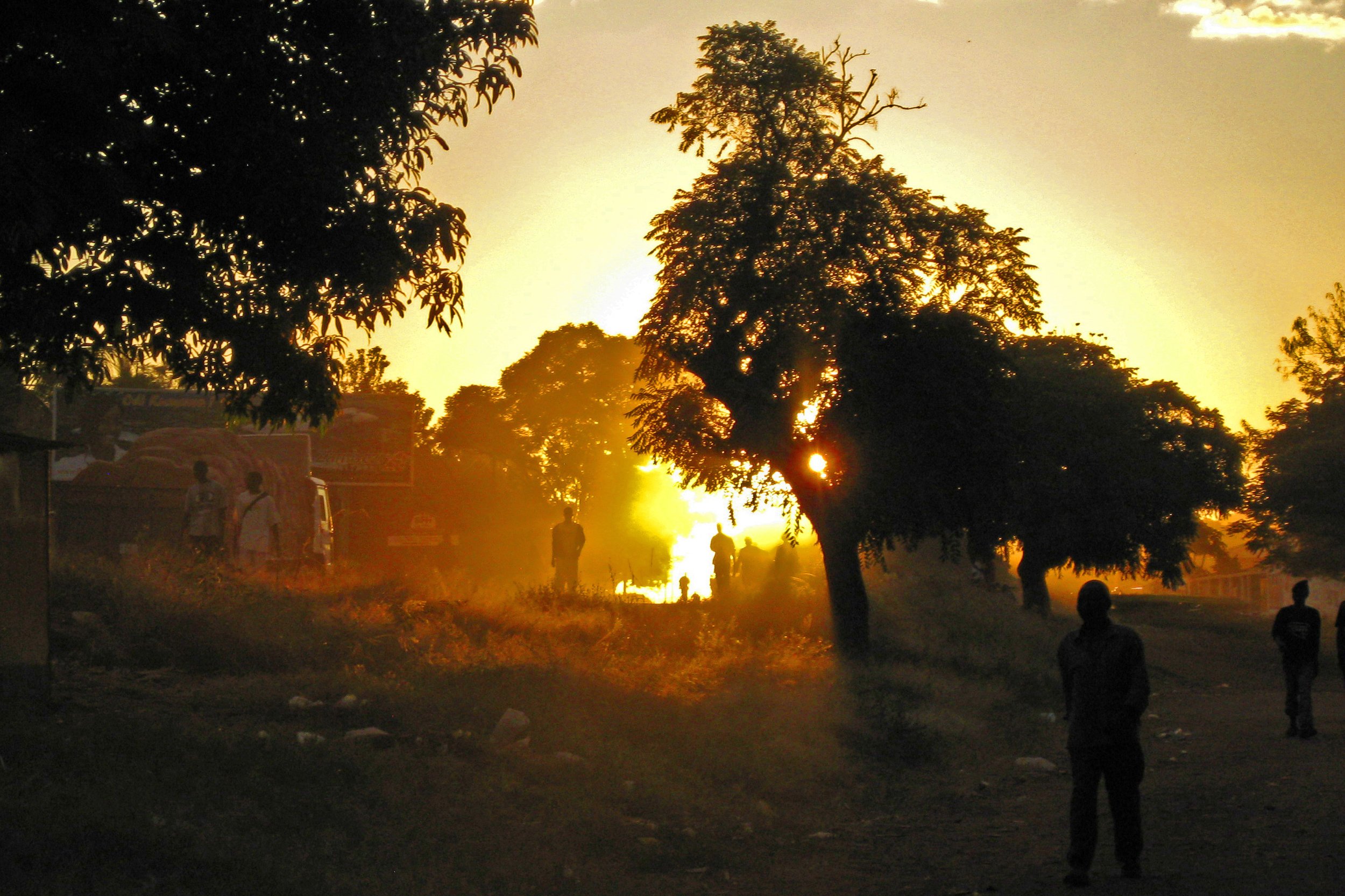 Dusty sunset along the main road in Chipata