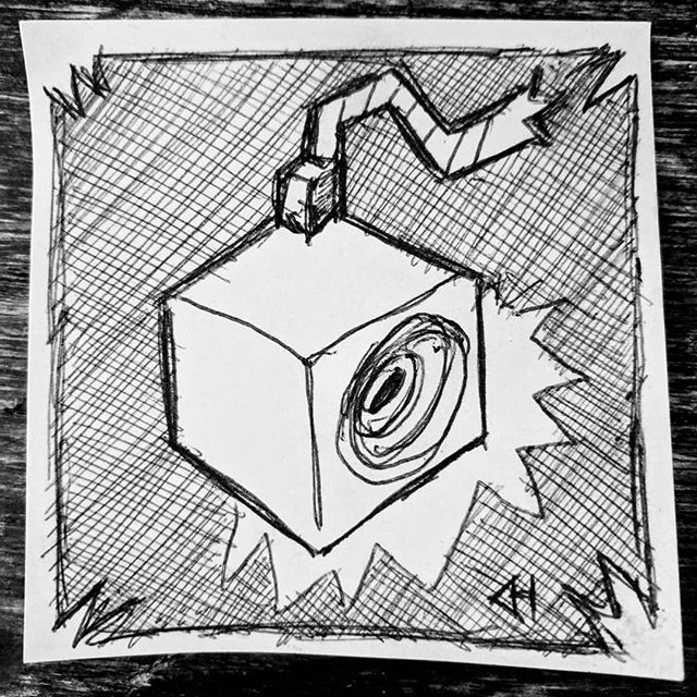 Drumming up new ideas for a woodcut... Getting ready for another adventure to #makerfairebayarea 2019 in a few weeks!  #boxofboom #doodle #badabingbadaboom #robots #drums #printmaking #makerfaire #longbeach