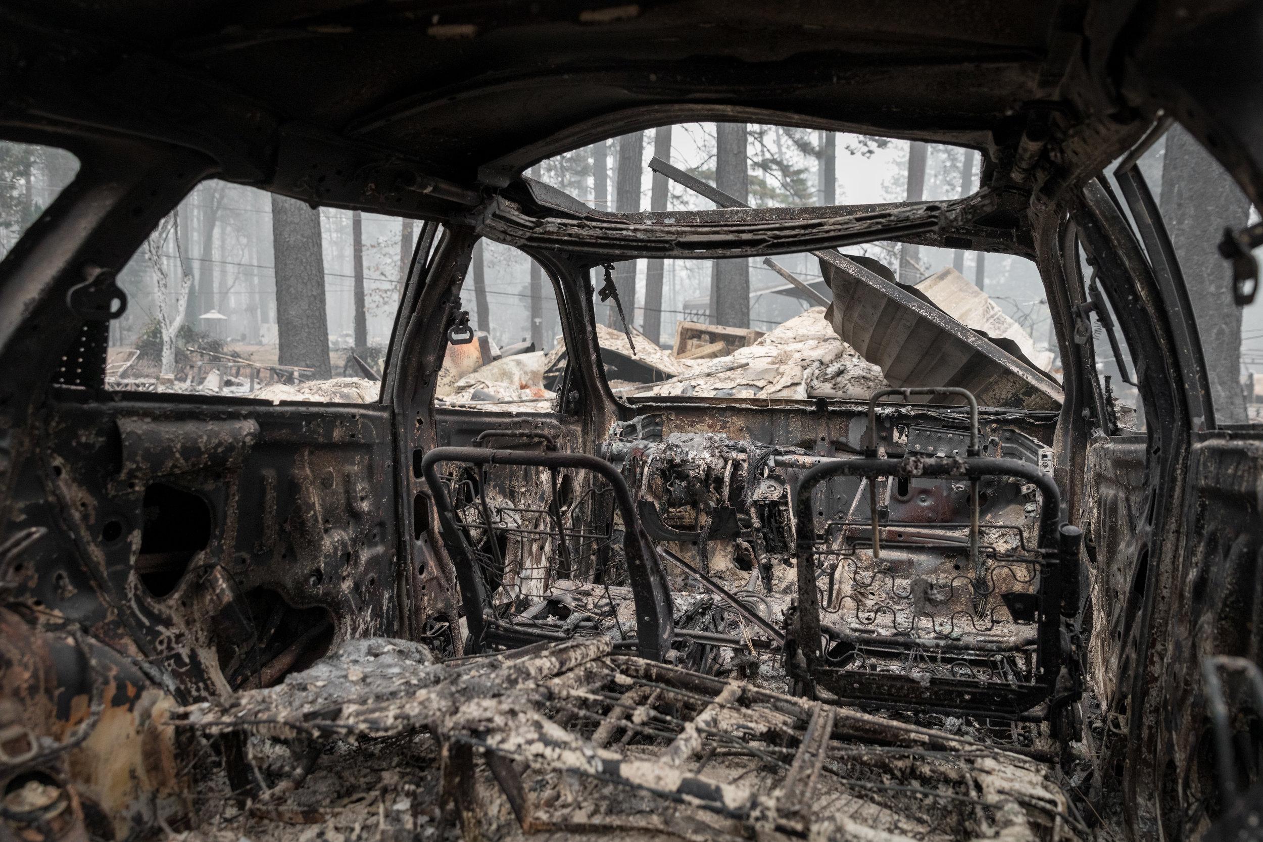 Interior of a charred vehicle, Paradise, CA — November 14th, 2018