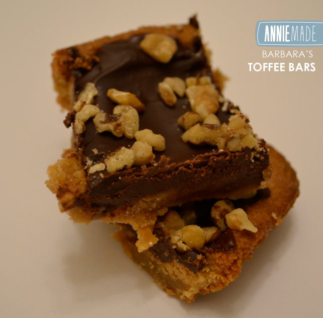 ANNIEMADE Recipe Barbaras Toffee Bars - Rich Buttery Bars topped with Chocolate and Walnuts