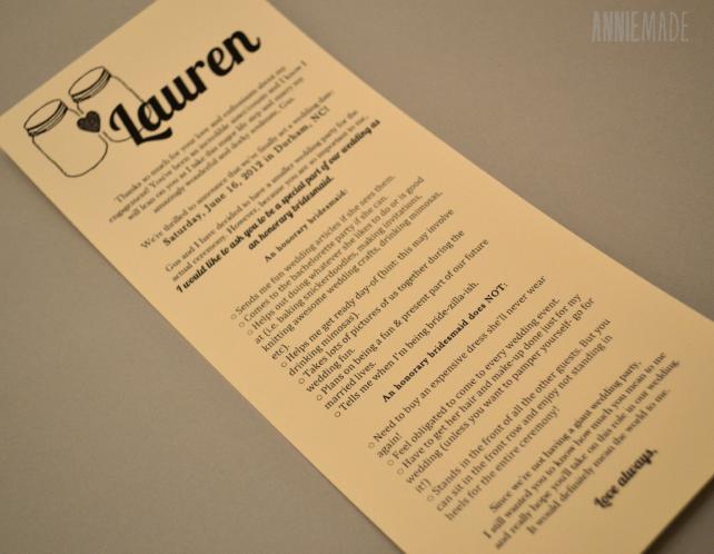 DIY Honorary Bridesmaids Card - Free Printable