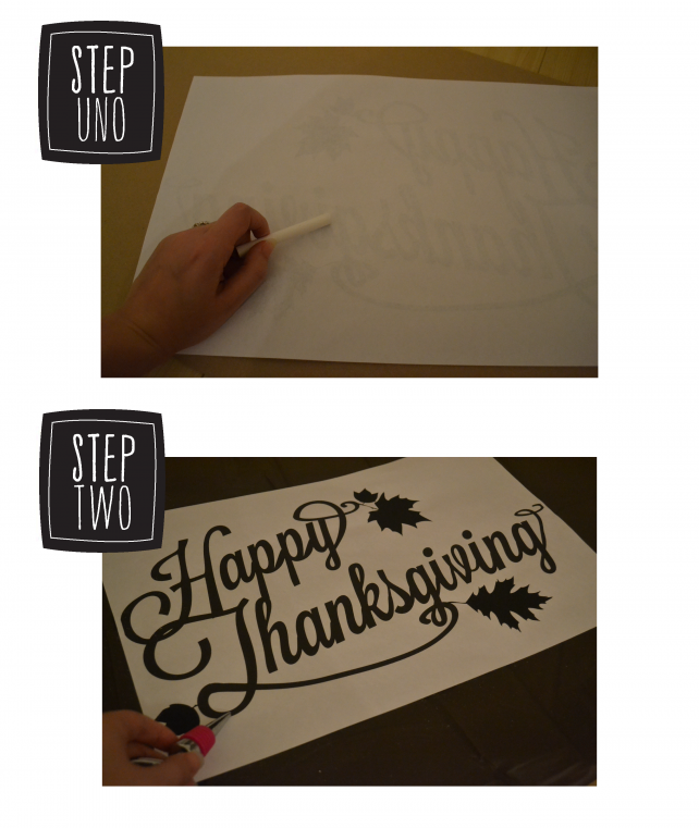 anniemade DIY Thanksgiving Table Cloth using Gold Sharpies + Free Printable