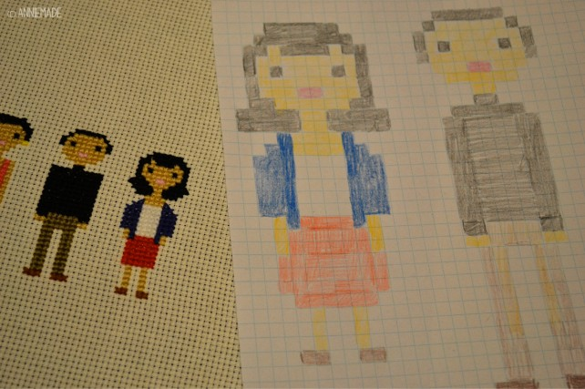 anniemade DIY Cross Stitch Family Portraits with Tutorial