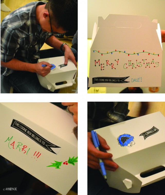 anniemade Decorating Cookie Boxes at a Cookie Exchange Party