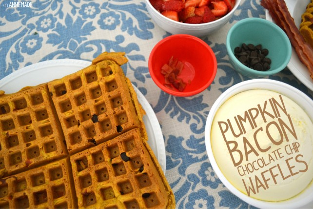 anniemade Amazing Pumpkin Bacon Chocolate Chip Waffles - can be made gluten-free too!