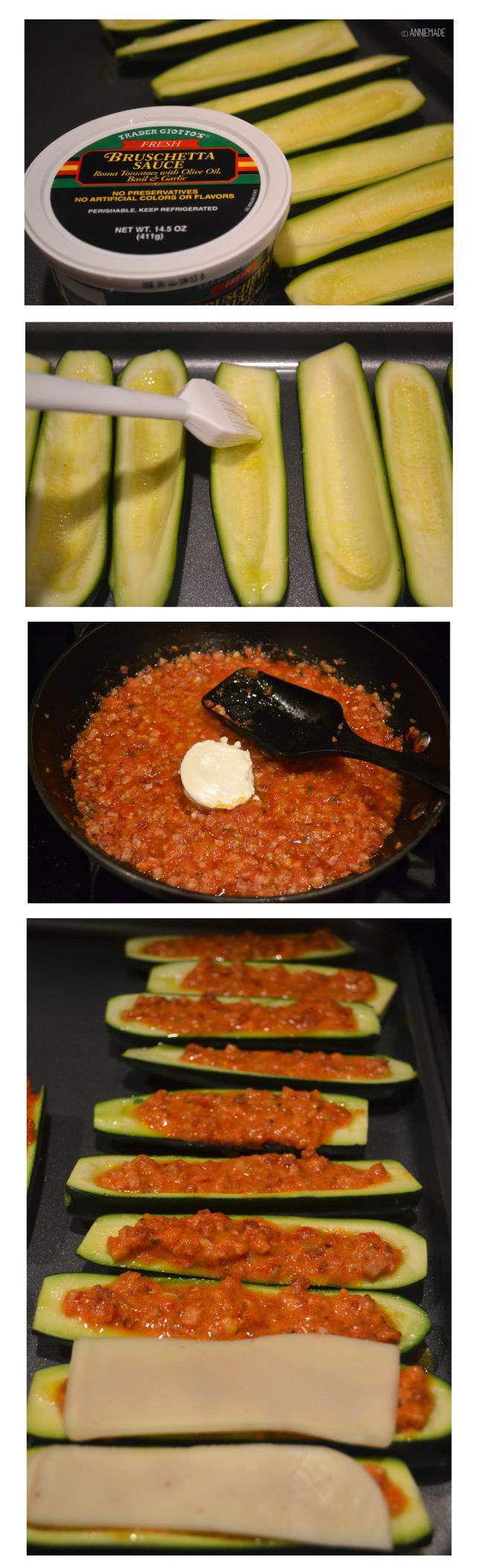 anniemade // Two Cheese Italian Stuffed Zucchini - Super easy recipe