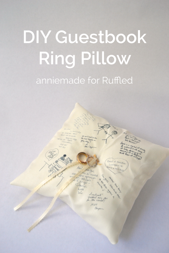 anniemade for Ruffled // DIY How to make a no-sew Guestbook Ring Pillow for your wedding! A beautiful way to literally carry the messages of your loved ones down the aisle on your big day