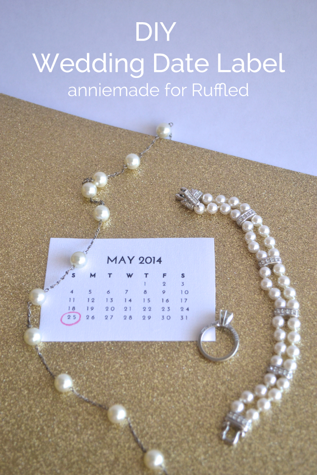 anniemade for Ruffled // DIY Wedding Dress Patch - How to create a mini-calendar to celebrate your wedding date, sewn secretly into your dress