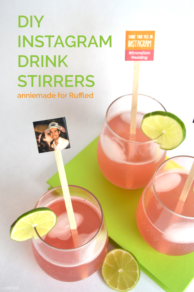 anniemade for Ruffled Wedding Blog // DIY Instagram Drink Stirrers - Perfect for weddings and parties