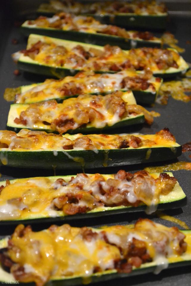 "anniemade // Zucchini ""Potato"" Skins - Easy, Cheesy, Low Carb and Gluten Free take on Bacon Potato Skins"