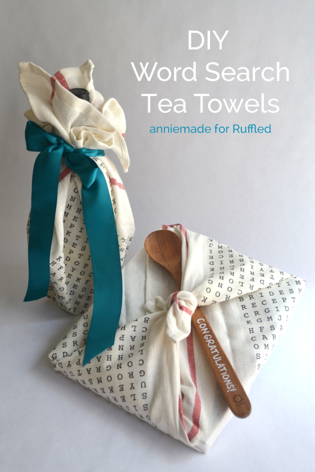 anniemade for Ruffled // How to create custom wedding word search tea towels that can be used as fabric gift wrapping for bridal showers, engagements parties, and more