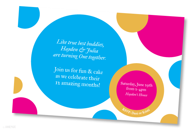 anniemade // Custom Designed Joint First Birthday Party Invitations