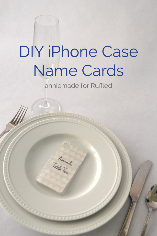 anniemade for Ruffled // DIY iPhone Case Name Cards - Easy and Free DIY Templates for iPhone Cases to use as Escort Cards at Weddings and Events