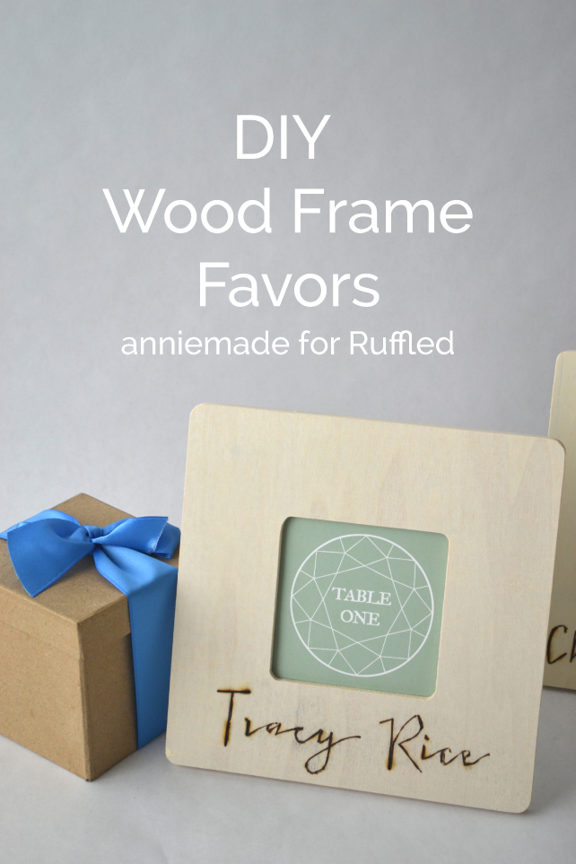 anniemade for Ruffled // How to use a wood-burning pen to create amazing picture frame place settings for your wedding that double as favors