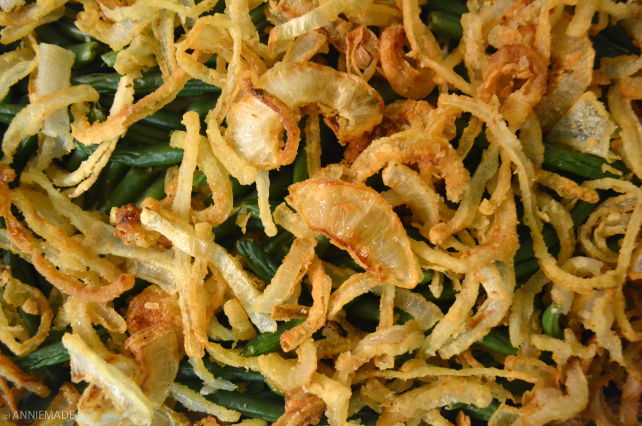 anniemade // Gluten-Free Green Bean Casserole with easy gluten-free fried onions! Perfect for holidays