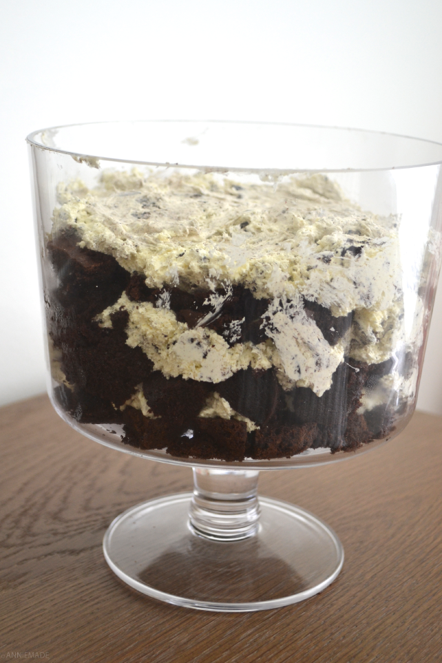 anniemade | Gluten-Free Oreo Brownie Cake Trifle - Made with Gluten-Free Trader Joe's Joe-Joes and GF Betty Crocker Cake Mixes - Super Easy Recipe