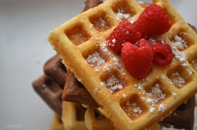 anniemade // Vanilla and Chocolate Ice Cream Doughnut Waffles that are also gluten-free - Amazing!