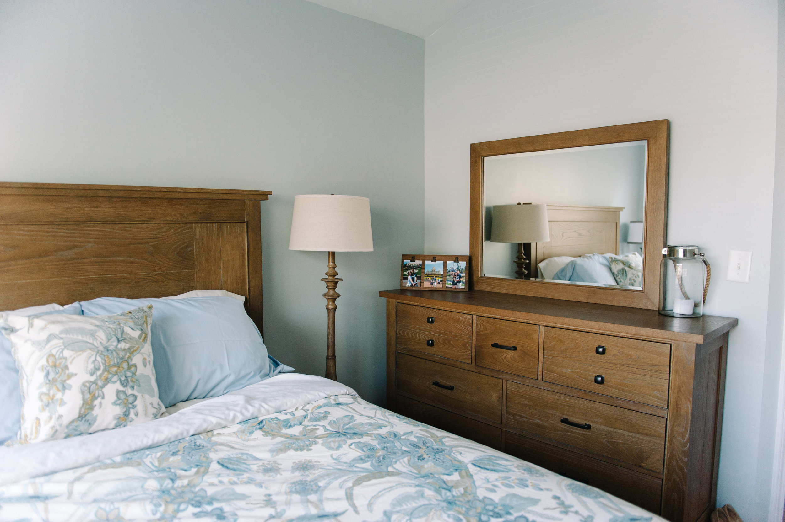 anniemade | Master Bedroom with Wood Dresser | photo by Faith Teasley Photography
