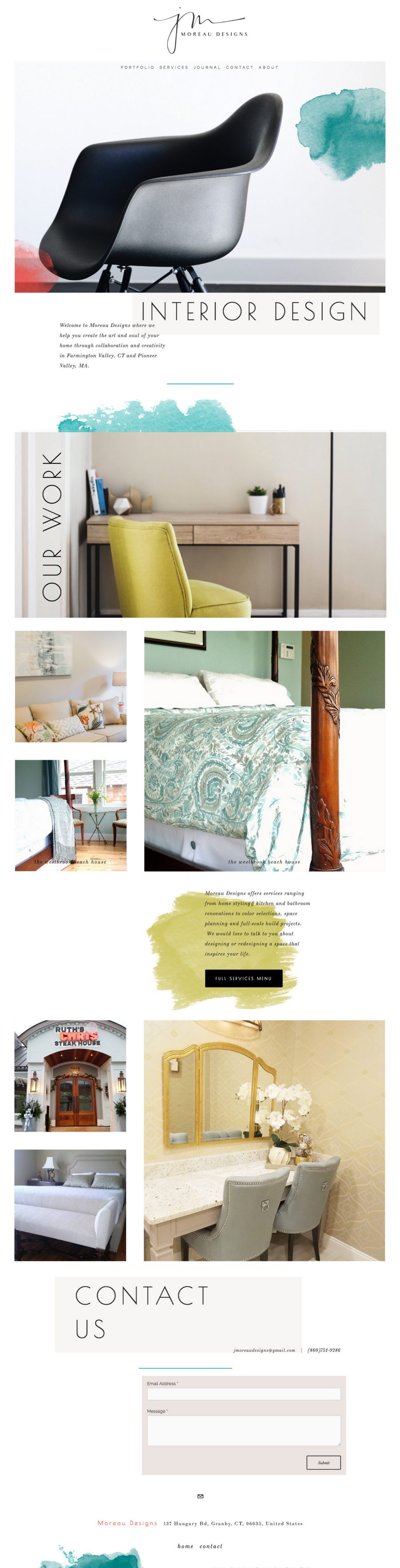 a custom squarespace design show off her aesthetic and branding-  view the site live