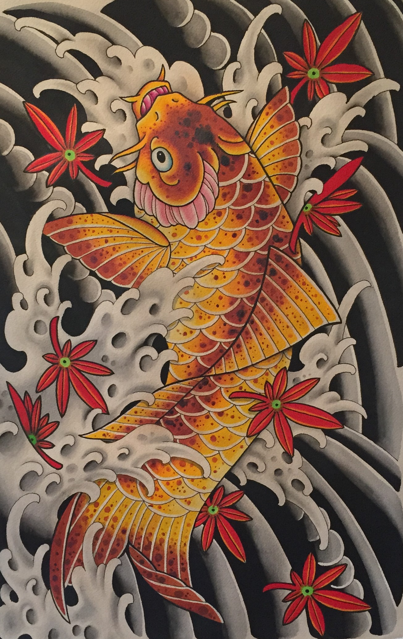 Japanese Koi Fish and Maple Leaves