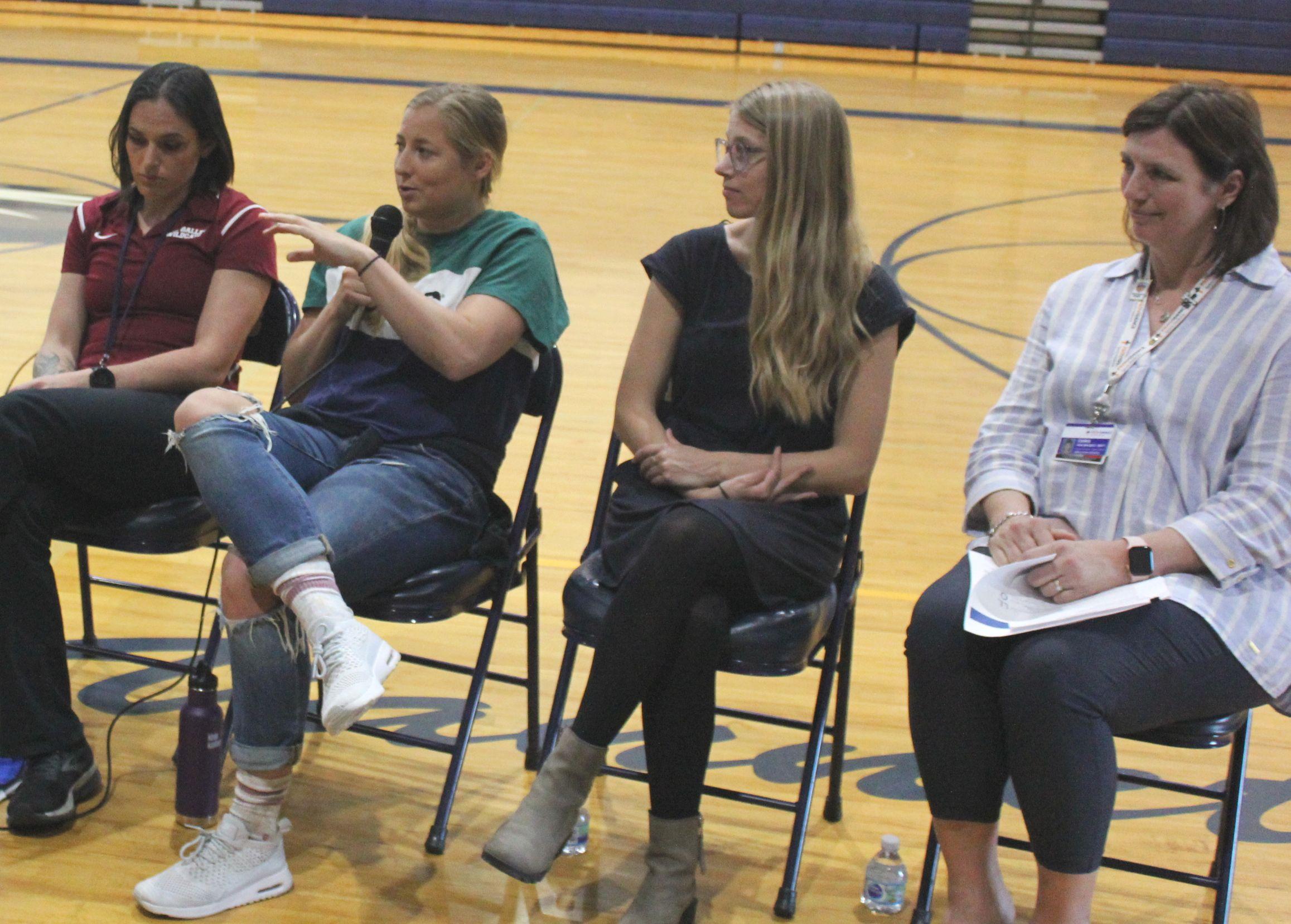 Girls on Track Workshop panelists encourage girls to stay active (L-R Amanda Phillips, Kendall Johnson, Alex Rudd, Chris Van Wagner).