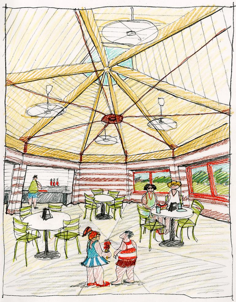 design sketch of café