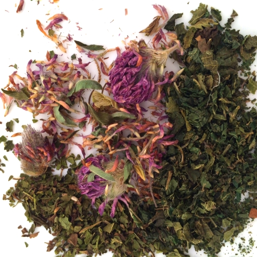 red clover, peppermint, nettles