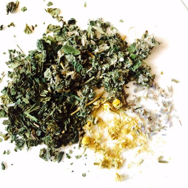 nettles, raspberry leaf, chamomile, lavender