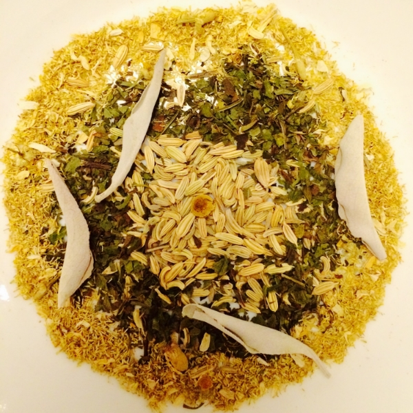fennel seed, peppermint, chamomile, sage leaves on top