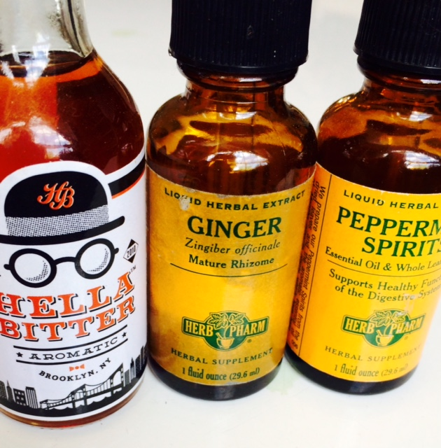 bitters, ginger, and peppermint tinctures