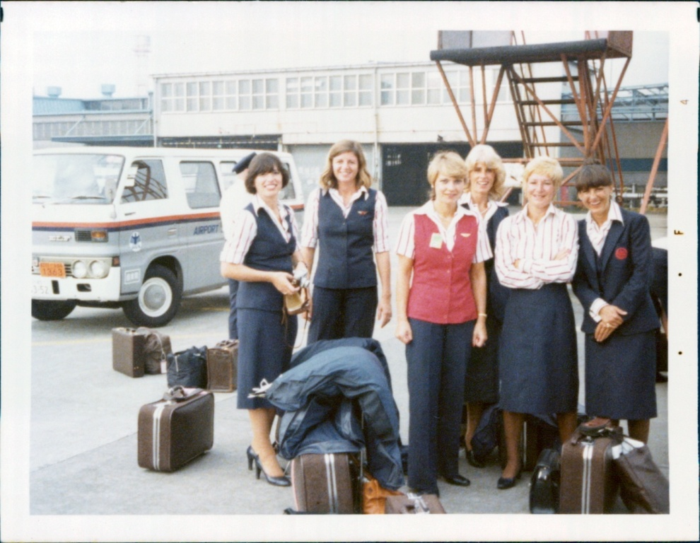 The Air Canada Crew in Kuala Lumpur.  Right to Left: Denise Pemberton, Monika Hilson, Sharon Tetz, Sigrun Cowan (in-charge), Patricia Ponte, Margaret Rothlisberger.