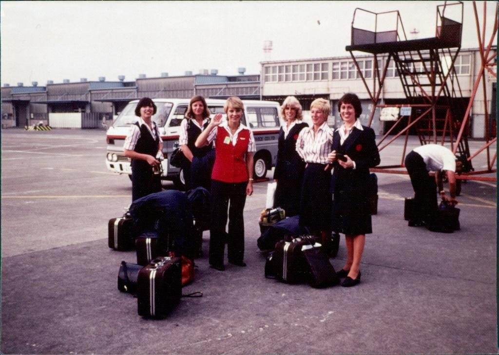 The Air Canada Crew in Kuala Lumpur.  Left to Right: Margaret Rothlisberger, Patricia Ponte, Sigrun Cowan (in-charge), Sharon Tetz, Monika Hilson, Patricia Talbot-Begin.