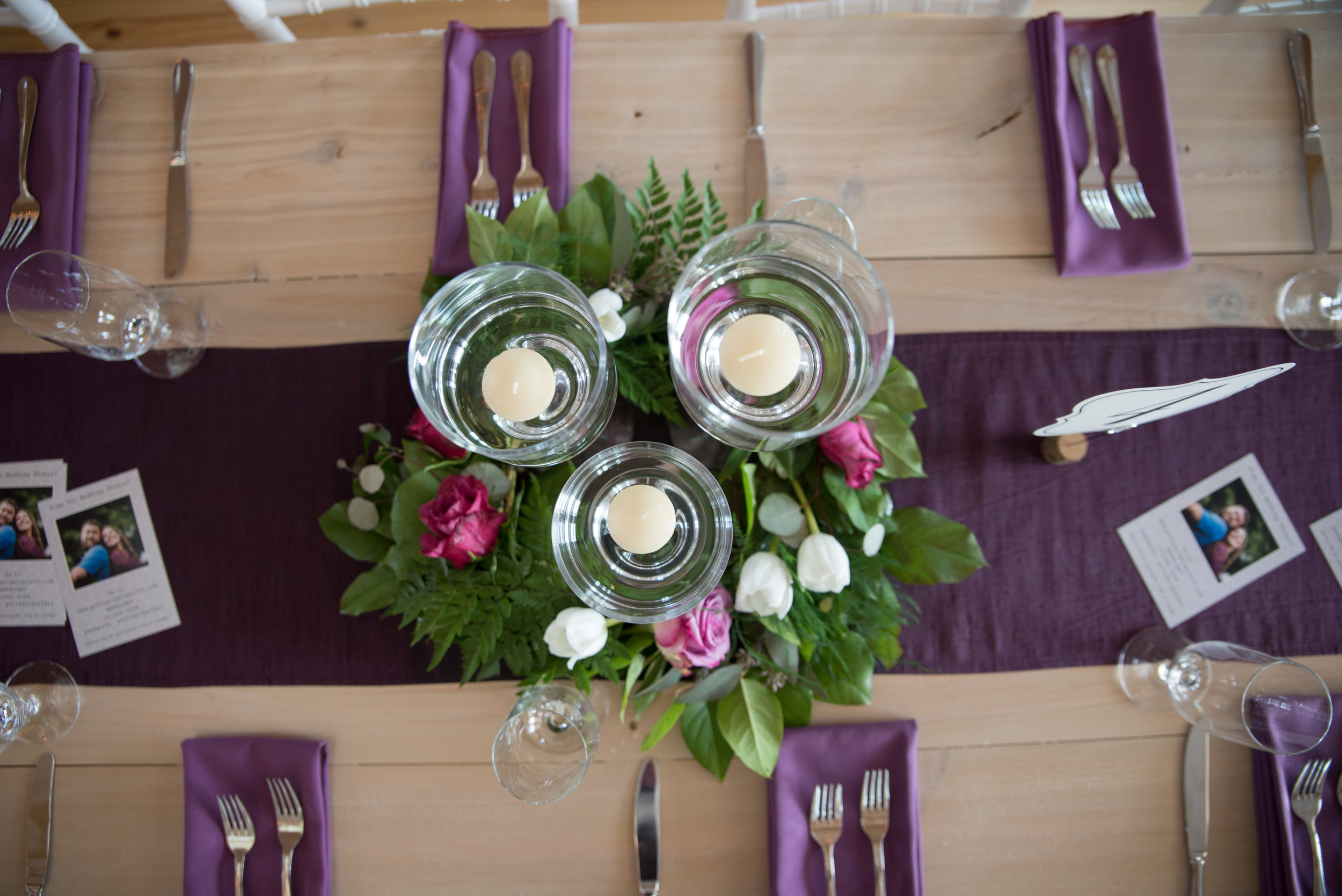 Our beautiful Custom Built Farm Tables with a white-washed wood Finish not only match our interior, but provide a natural finish that makes your color accents POP! Natural wood and white color scheme is the perfect canvas for your Stowe Wedding.